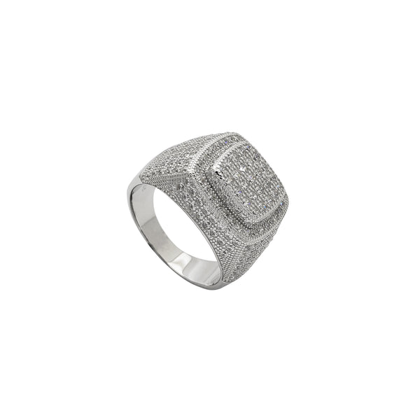 Zirconia Iced-Out Square Signet Ring (Silver)