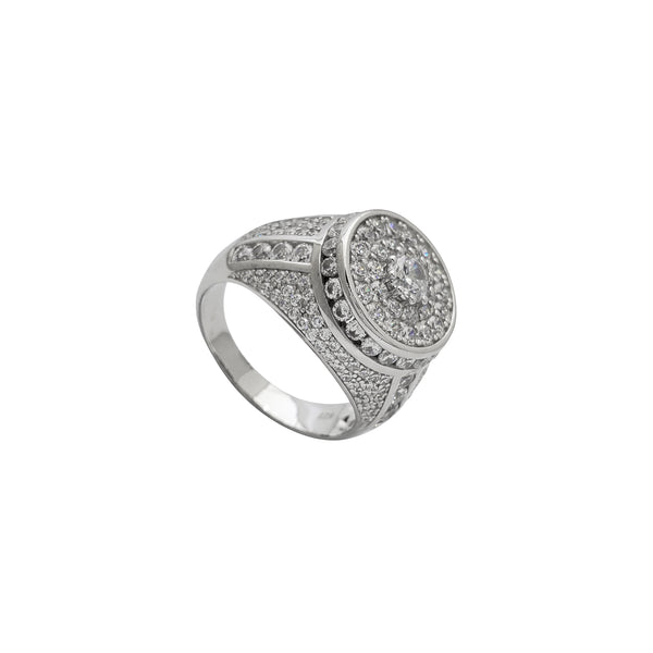Zirconia Iced-Out Round Signet Men's Ring (Silver)