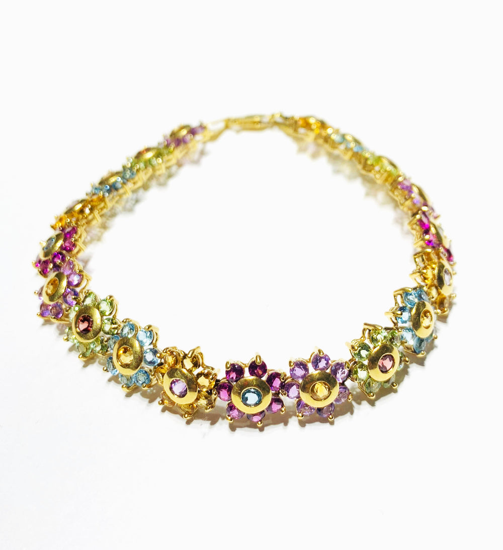 Multi-color Flowers Bracelet (14K).