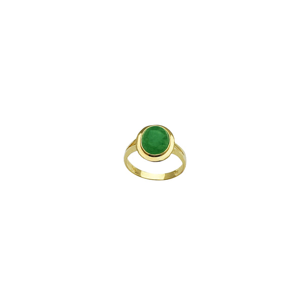 Yellow Gold Cabochon Jade Ring (14K)