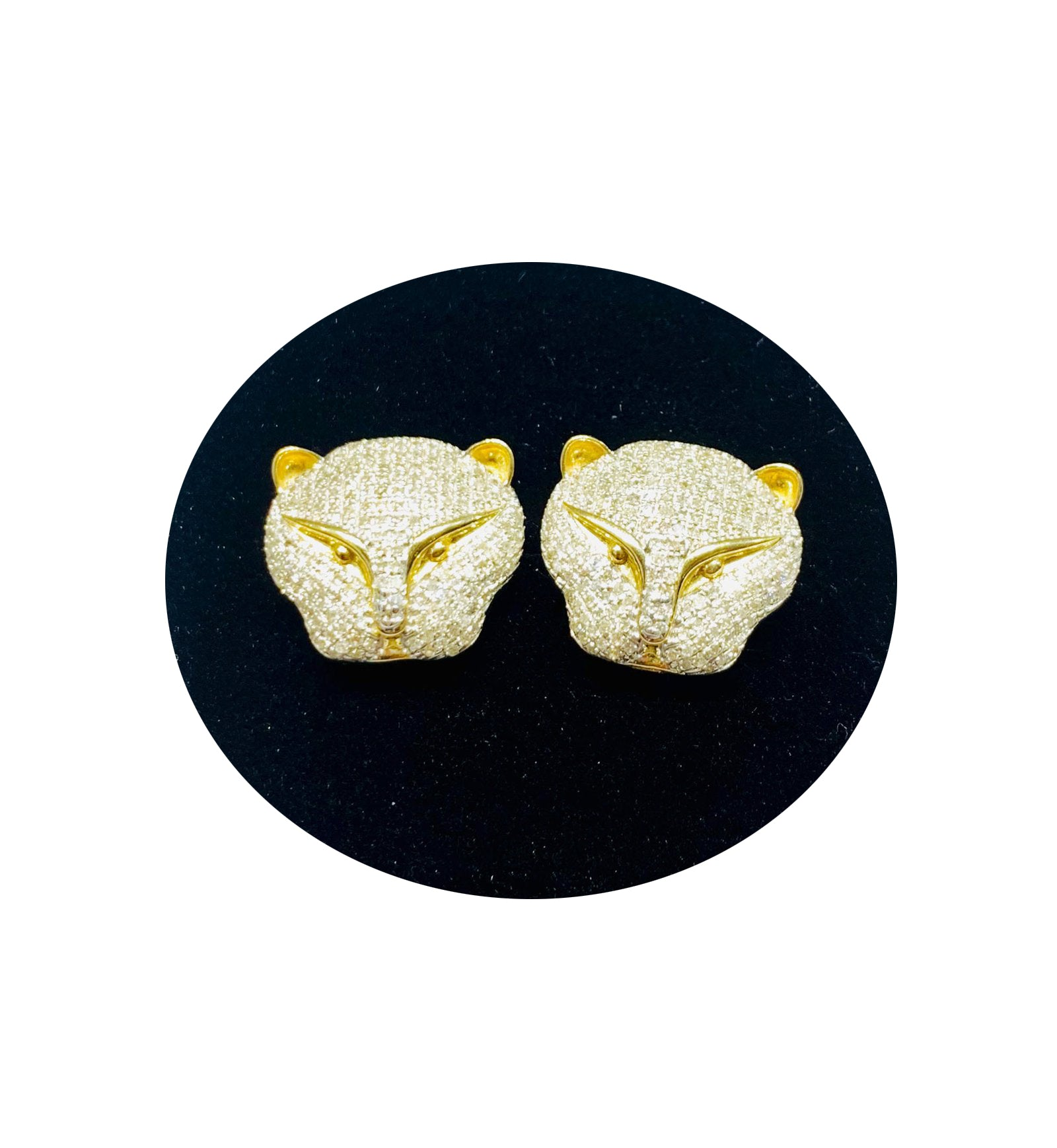 Diamond Head Panther Earrings (10K)