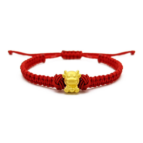 Baby Ox Chinese Zodiac Red String Bracelet (24K) front - Popular Jewelry - New York