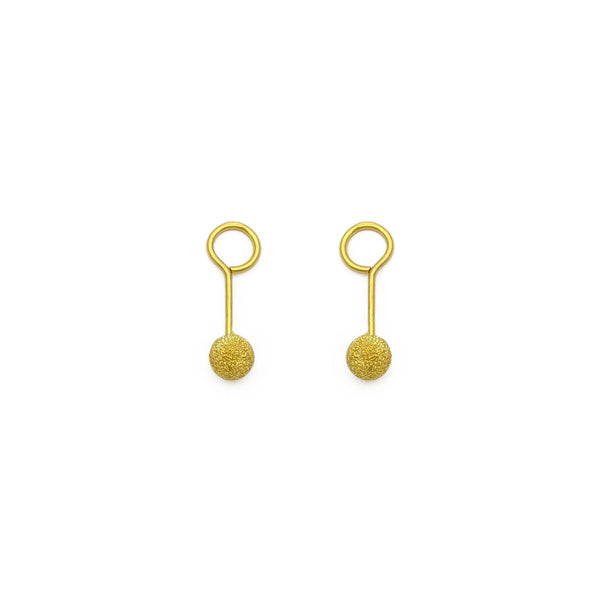 Laser-Cut Ball Twistable Earring small (24K) front - Popular Jewelry - New York