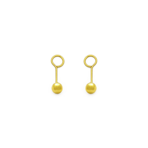 Ball Twistable Earring small (24K) front - Popular Jewelry - New York