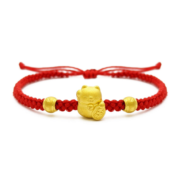 Fortune Cat Red String Bracelet (24K) front - Popular Jewelry - New York