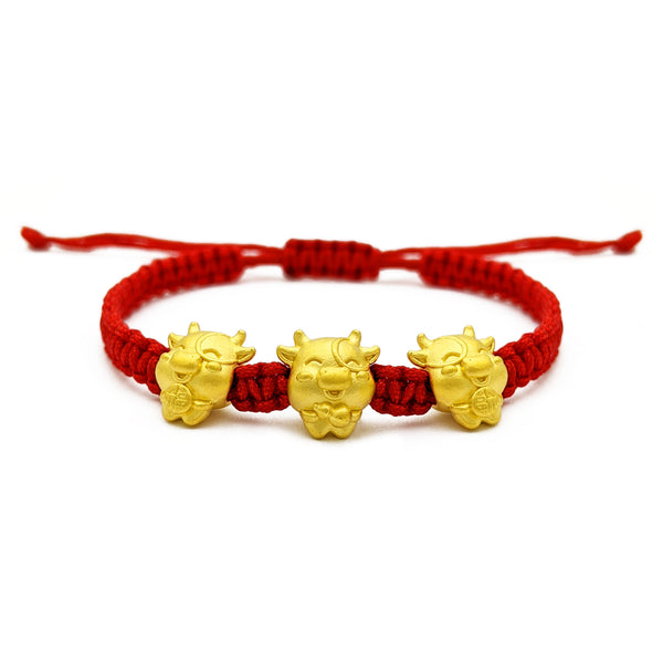 Fortune Ox Triplet Chinese Zodiac Red String Bracelet (24K) front - Popular Jewelry - New York