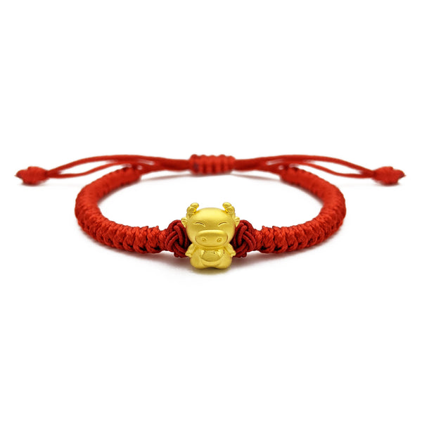 Happy Ox Chinese Zodiac Red String Bracelet (24K) front - Popular Jewelry - New York