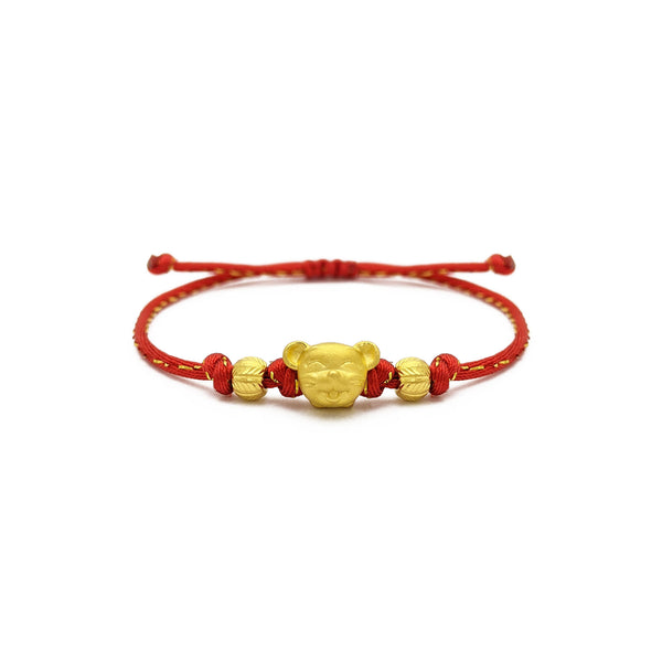Joyful Rat Chinese Zodiac Red String Bracelet (24K) front - Popular Jewelry - New York