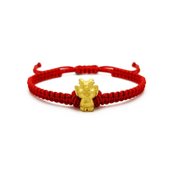 Little Dragon Chinese Zodiac Red String Bracelet (24K) front - Popular Jewelry - New York