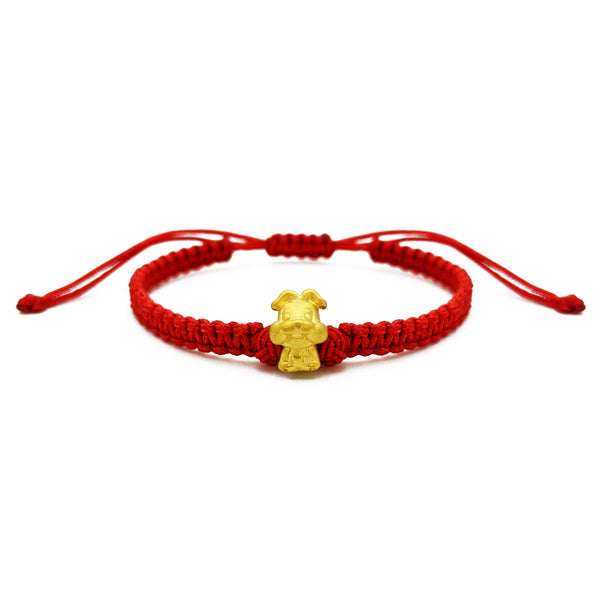 Little Rabbit Chinese Zodiac Red String Bracelet (24K) front - Popular Jewelry - New York