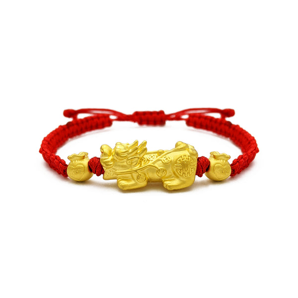 Love and Prosperity Pixiu Red String Bracelet (24K) front - Popular Jewelry - New York