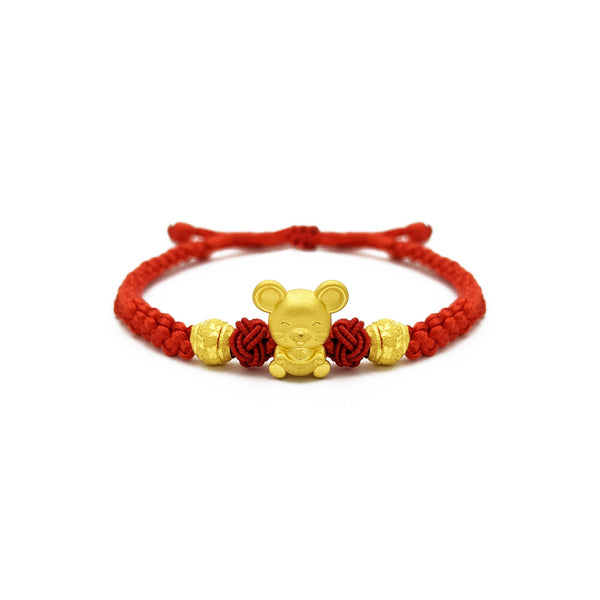 Lovely Rat with Ingot and Beads Chinese Zodiac Red String Bracelet (24K) front - Popular Jewelry - New York