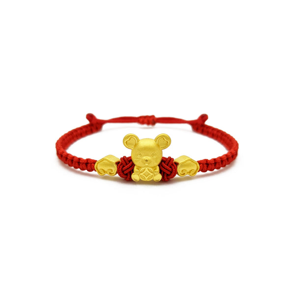 Lucky Rat with Clouds Chinese Zodiac Red String Bracelet (24K) front - Popular Jewelry - New York