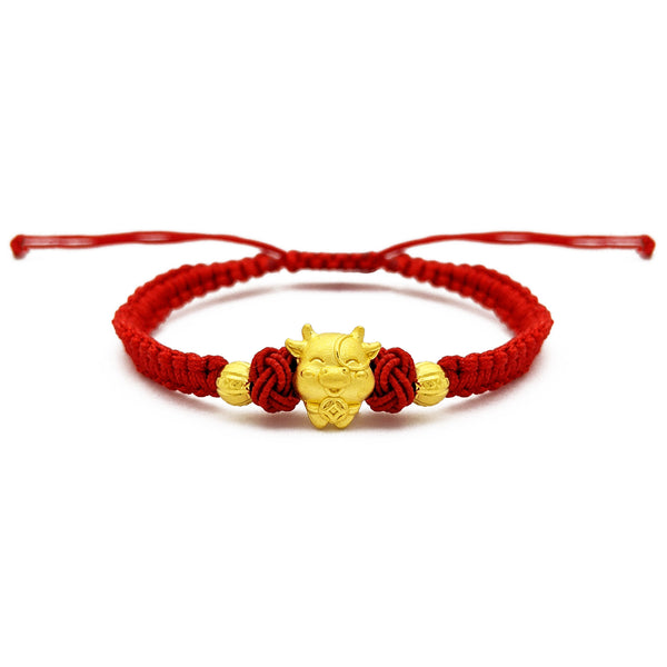 Lucky Ox with Beads Chinese Zodiac Red String Bracelet (24K) front - Popular Jewelry - New York