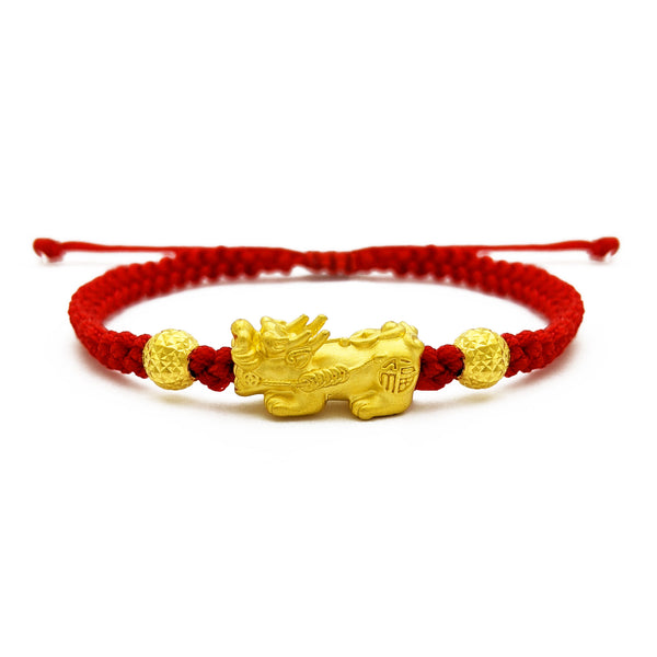 Pixiu Beaded Red String Bracelet (24K) front - Popular Jewelry - New York