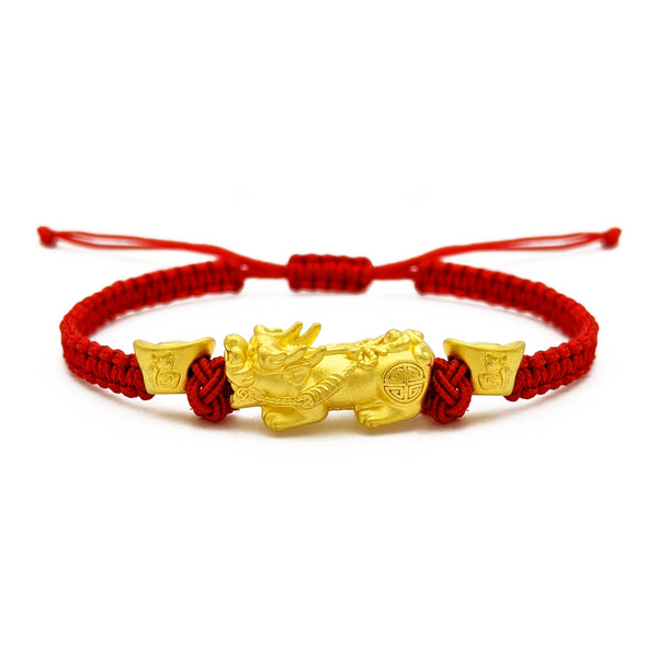 Pixiu with Ingots Red String Bracelet (24K) front - Popular Jewelry - New York