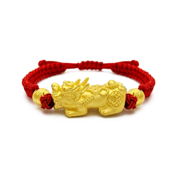 Prosperity Pixiu Beaded Red String Bracelet (24K) front - Popular Jewelry - New York