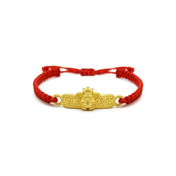Regal Rat Bar Chinese Zodiac Red String Bracelet (24K) front - Popular Jewelry - New York