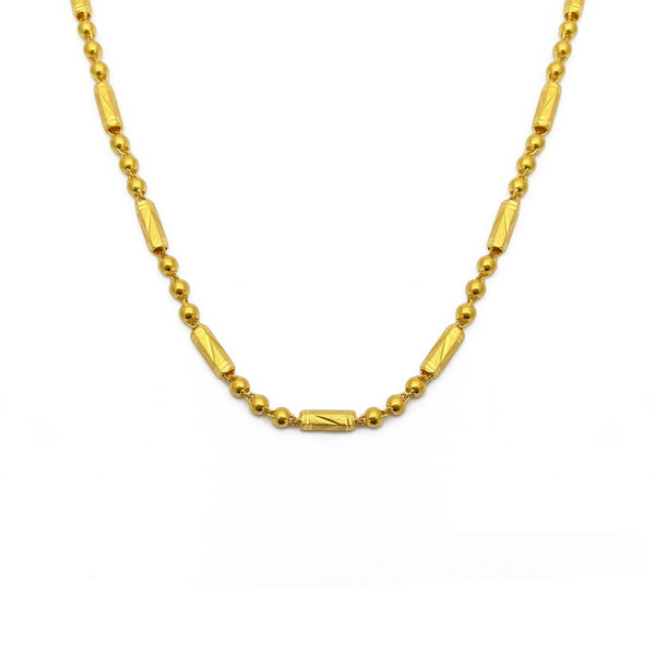 Sand Blasted Barrell and Bead Chain (24K) front - Popular Jewelry - New York