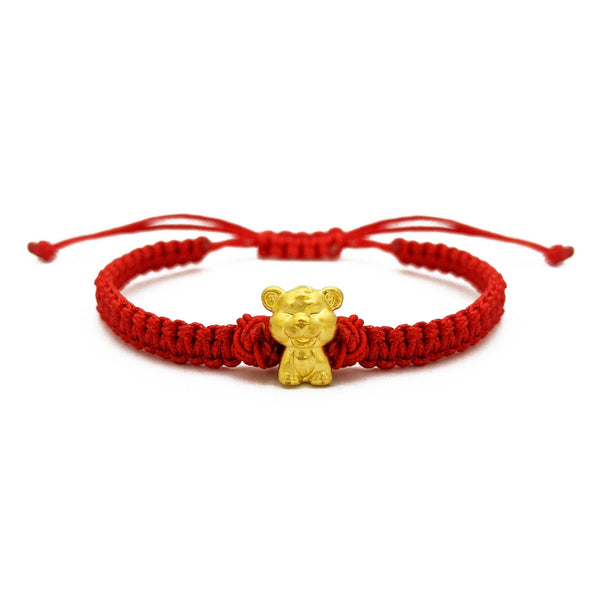Smiley Tiger Chinese Zodiac Red String Bracelet (24K) front - Popular Jewelry - New York