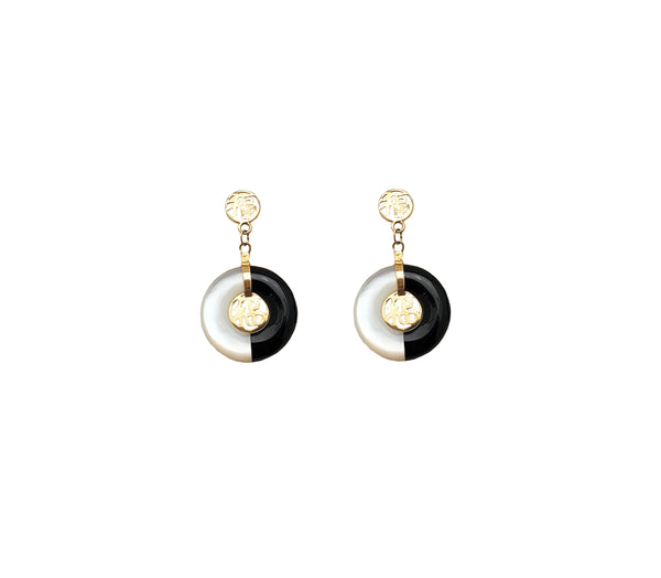 Onyx & Mother-of-Pearl Fortune Dangling Stud Earrings (14K)