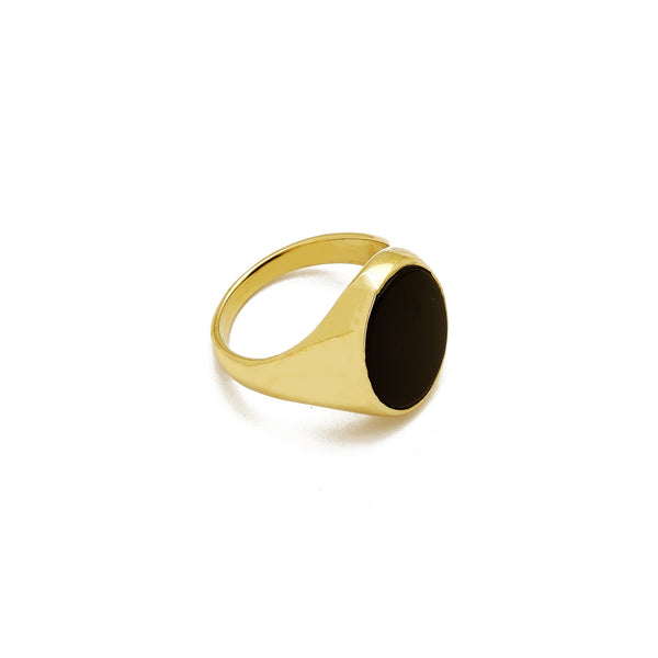 Anel de ônix preto oval (14K) Popular Jewelry New York