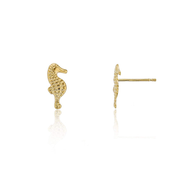 Textured Seahorse Stud Earrings (14K) Popular Jewelry New York