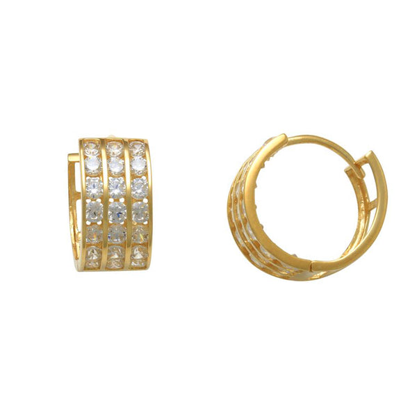 3-Rows Pave Huggie Earrings (14K)