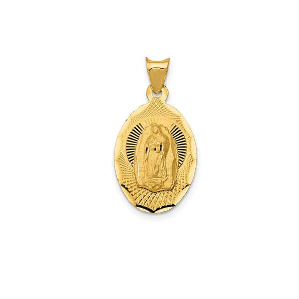 Yellow Gold Lady of Guadalupe Oval Pendant (14K)