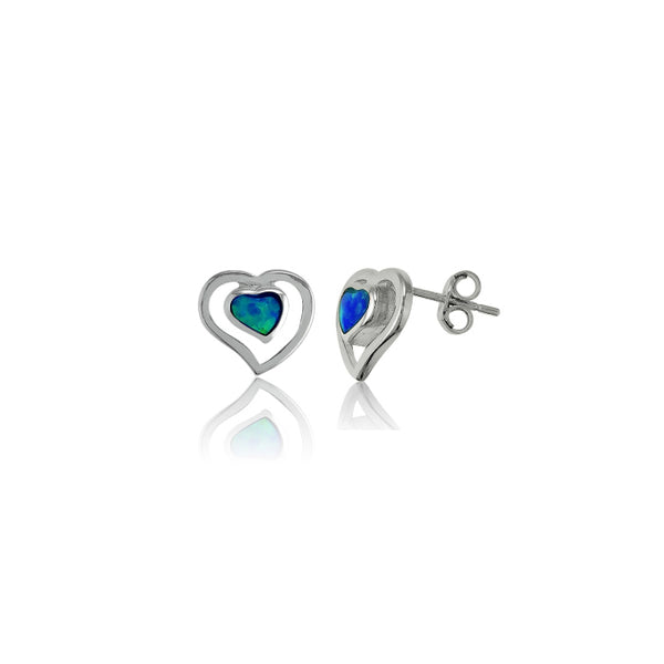 Blue Opal Open Heart Stud Earring (Silver)