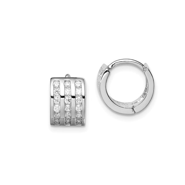 3-Row CZ Huggie Earrings (Silver)