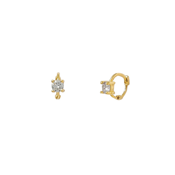 4-Prong Miniature Huggie Earrings (14K) Popular Jewelry New York