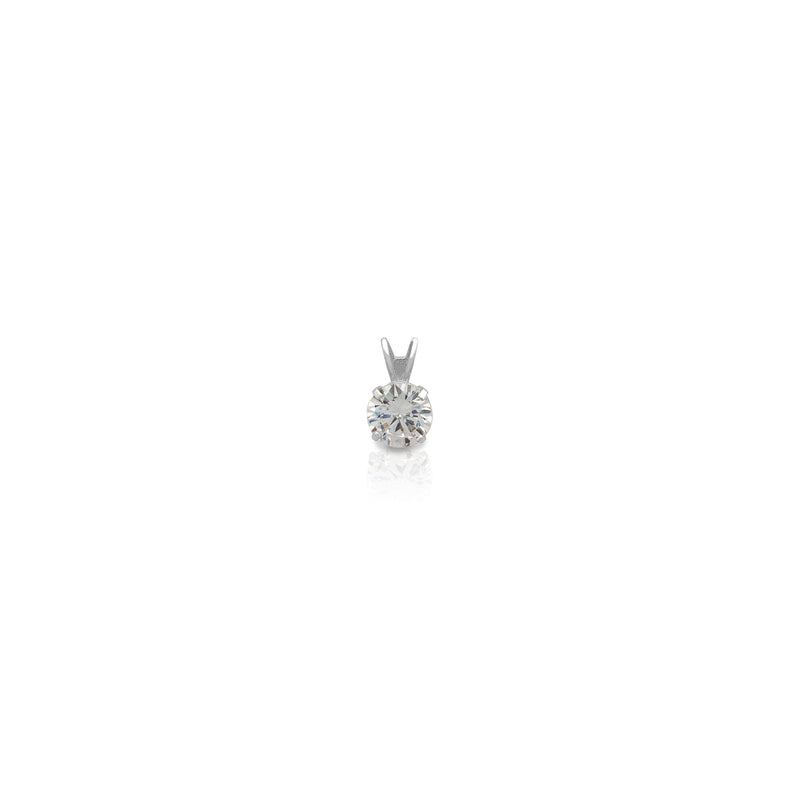 4-Prong Round Solitaire White Gold Pendant (14K) Popular Jewelry New York