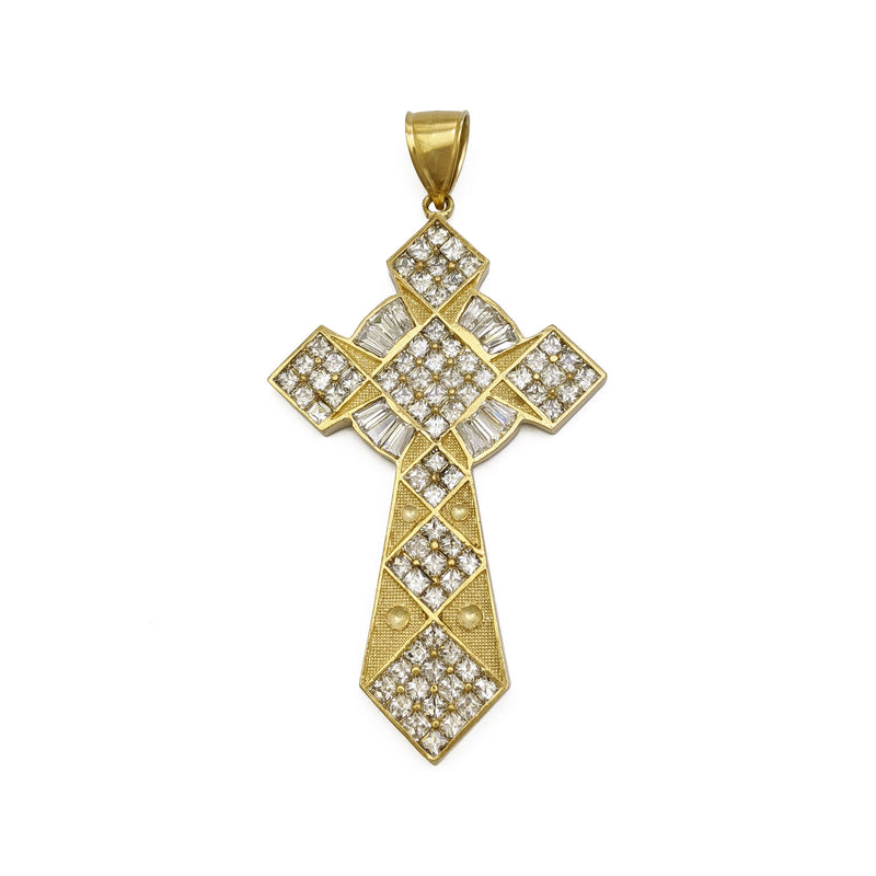 Icy Celtic Christian Pointed Cross Pendant (10K) front - Popular Jewelry - New York