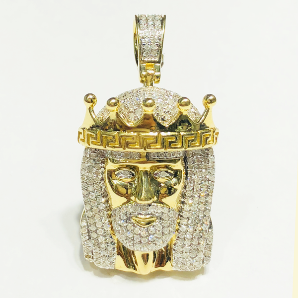 Diamond Iced Out Crown Jesus Head Pendant 10K Yellow Gold