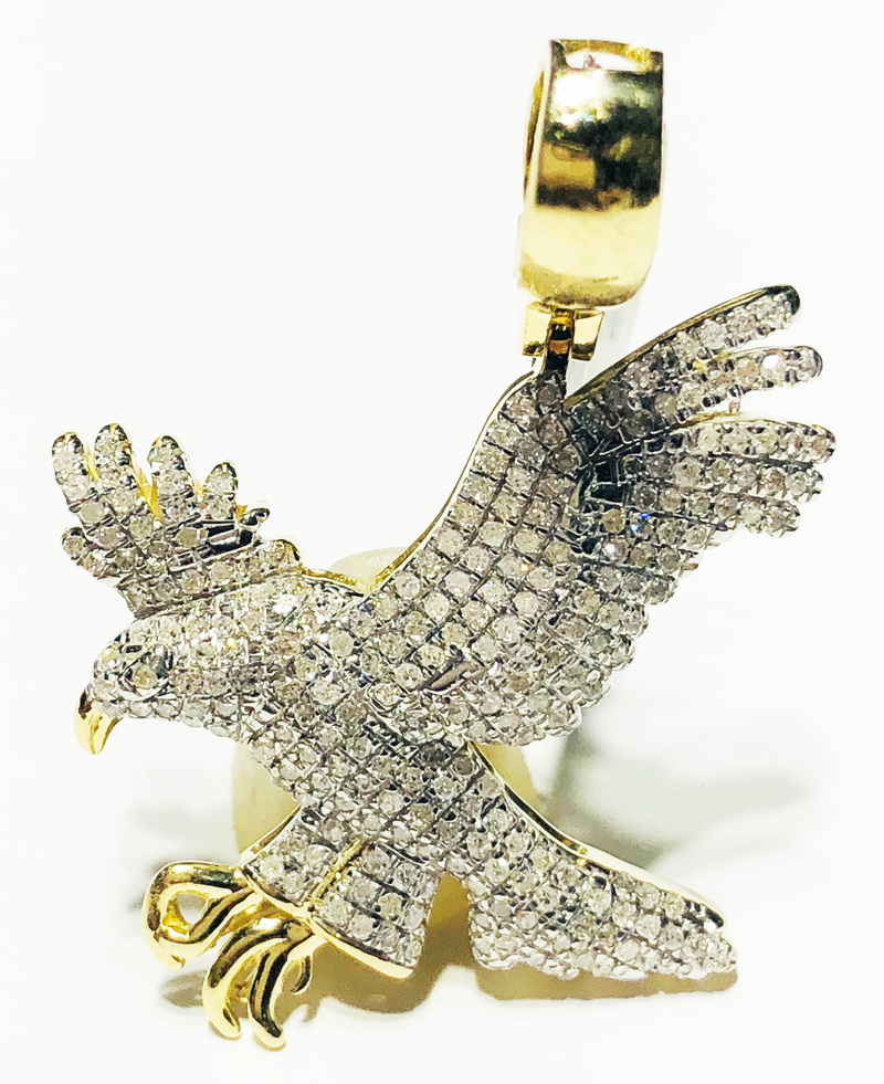 Iced-Out Diamond Eagle Pendant (10K)