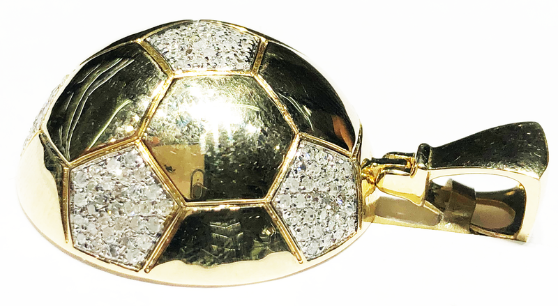 Diamond Half Round Soccer Ball pendant 10K Yellow Gold