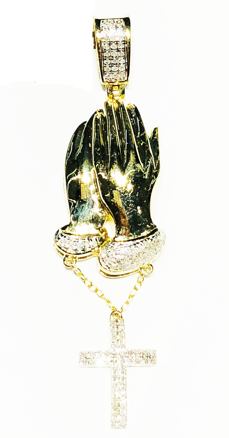 Praying Hands (w/ Hanging Diamond Cross) Pendant (10K)
