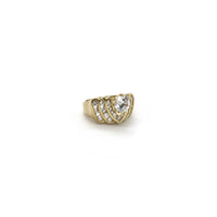 Replicating Heart CZ Ring (10K) diagonal - Popular Jewelry - New York