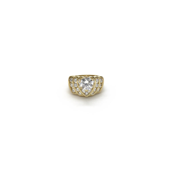Replicating Heart CZ Ring (10K) front - Popular Jewelry - New York