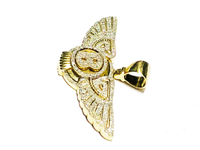 Diamond Winged Pendant Initial 'B' Letter 10K Yellow Gold