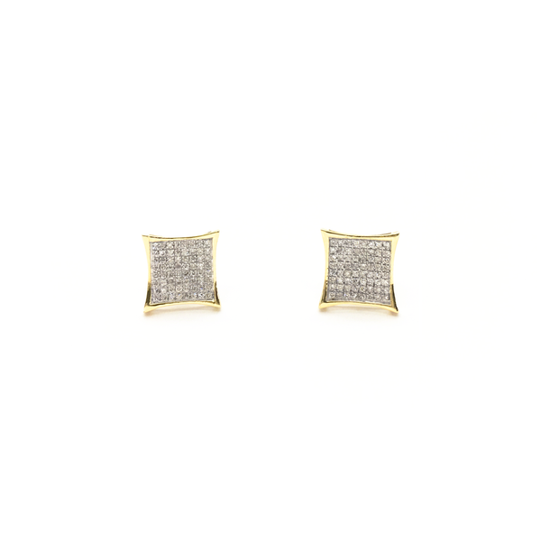 Concave Square Diamond Cluster Stud Earrings (10K) front - Popular Jewelry - New York