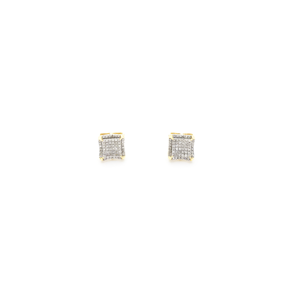 Concave Square Dome Diamond Stud Earrings (10K) front - Popular Jewelry - New York
