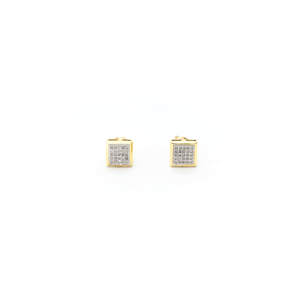 Framed Square Diamond Cluster Stud Earrings (10K) front - Popular Jewelry - New York