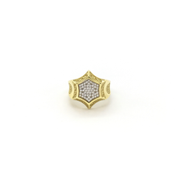 Greek Key Hexagon CZ Cluster Ring (10K) front - Popular Jewelry - New York