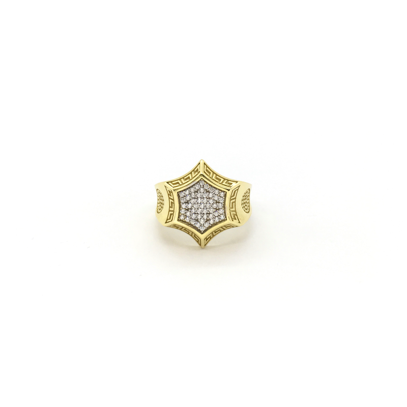 products/417_10_karat_Yellow_Gold_Greek_Key_Hexagon_Cubic_Zirconia_Cluster_Ring_front_angle_view_web_product_Popular_Jewelry_New_York.png