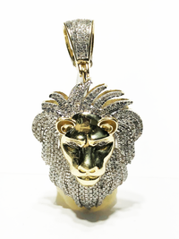 Diamond Iced Out Lion Head Pendant 10K Yellow Gold