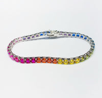 Multi-color Tennis CZ Bracelet (Silver)