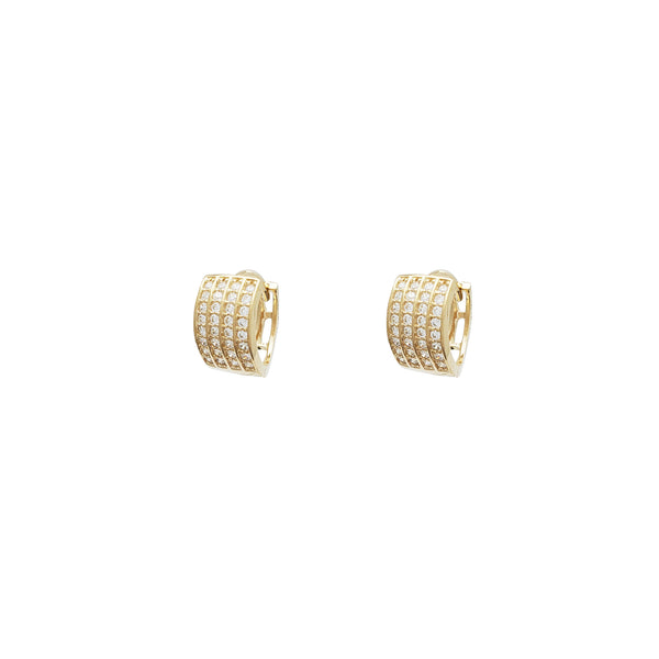 4 Rows Huggie CZ Earrings (14K)