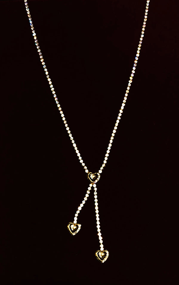 Tri-Heart Tennis Necklace (14K).